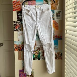 Free people jeans busted knee white high waist